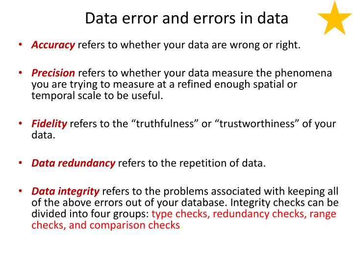 Data error and errors in data
