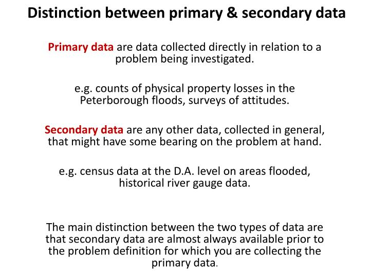 Distinction between primary & secondary data