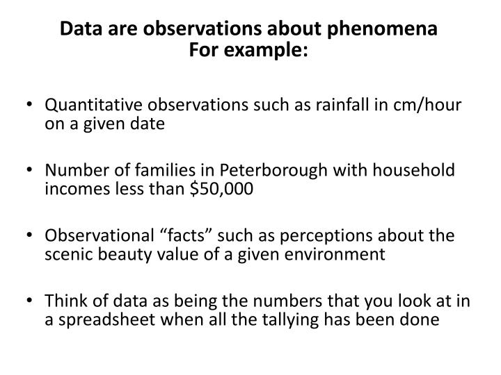 Data are observations about phenomena