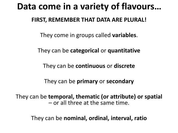 Data come in a variety of