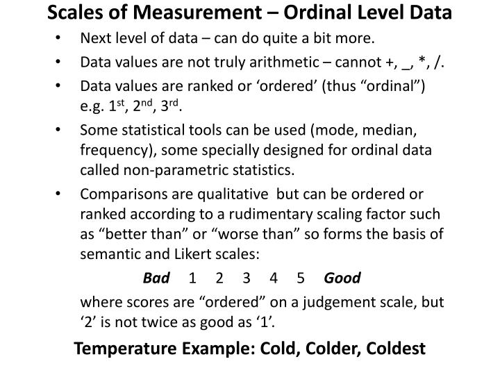 Scales of Measurement – Ordinal Level Data