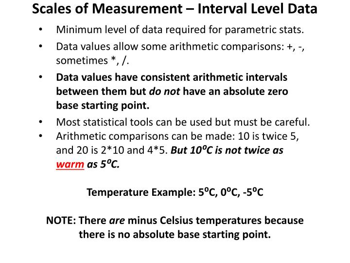 Scales of Measurement – Interval Level Data