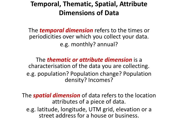 Temporal, Thematic, Spatial, Attribute Dimensions of Data