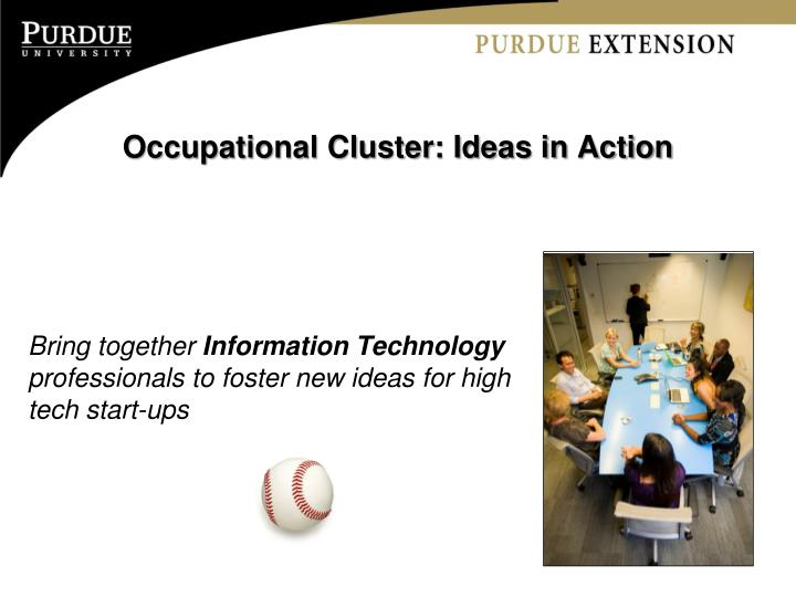 Occupational Cluster: Ideas in Action