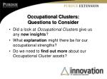 occupational clusters questions to consider