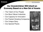 our grandchildren will inherit an economy based on a new set of assets1