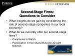 second stage firms questions to consider