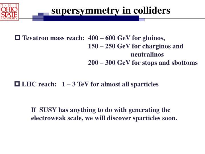 supersymmetry in colliders