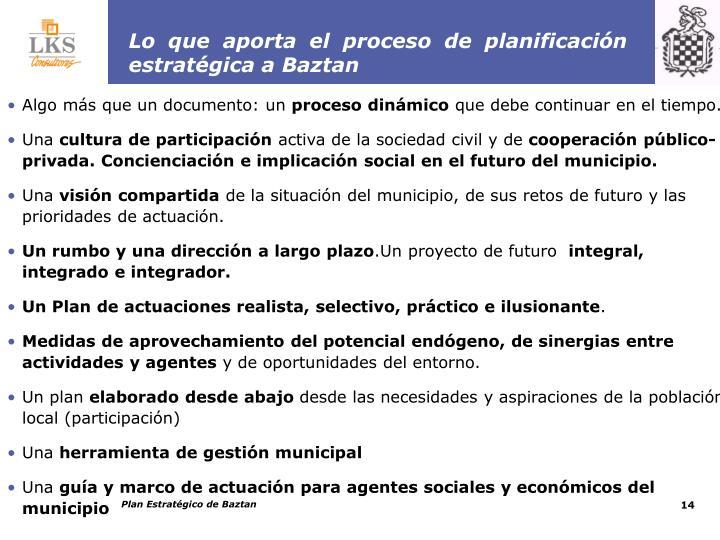 Lo que aporta el proceso de planificación estratégica a Baztan