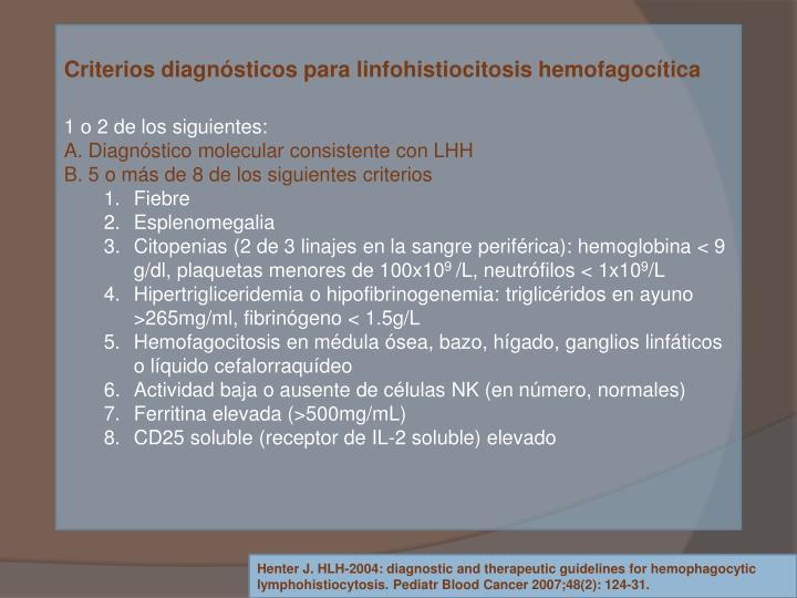 Criterios diagnósticos para