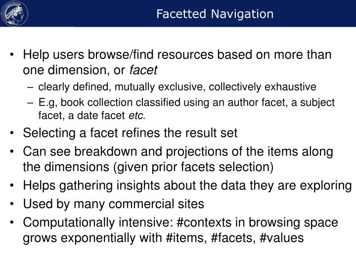 Facetted navigation