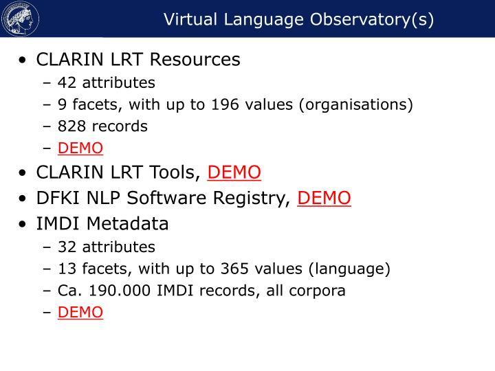 Virtual Language Observatory(s)
