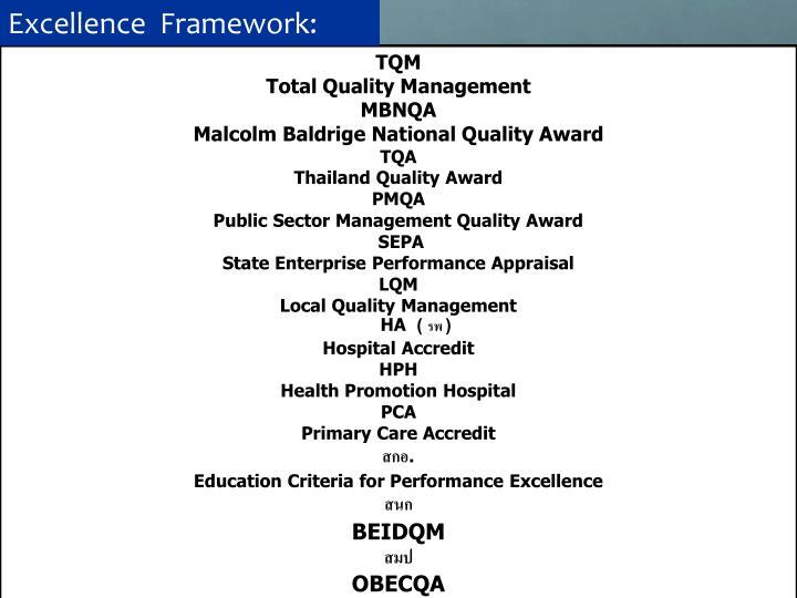 Excellence  Framework: