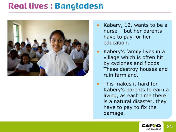 Kabery, 12, wants to be a nurse – but her parents have to pay for her education.