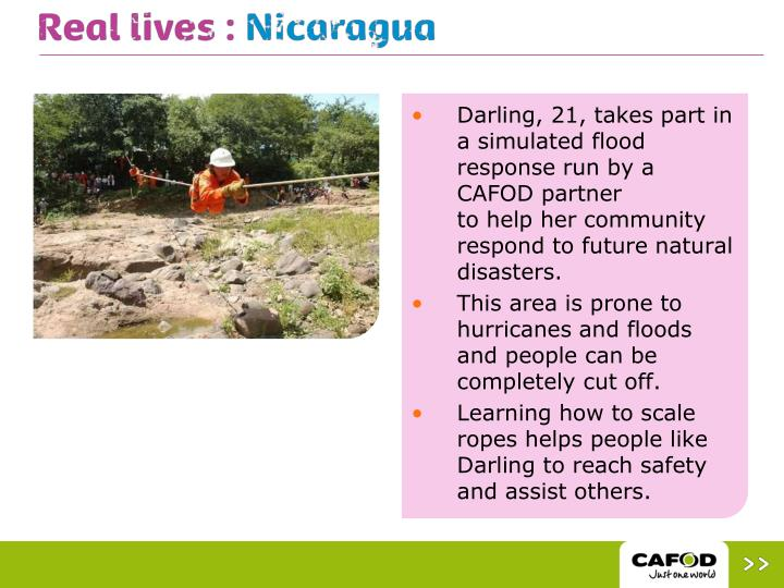 Darling, 21, takes part in a simulated flood response run by a CAFOD partner