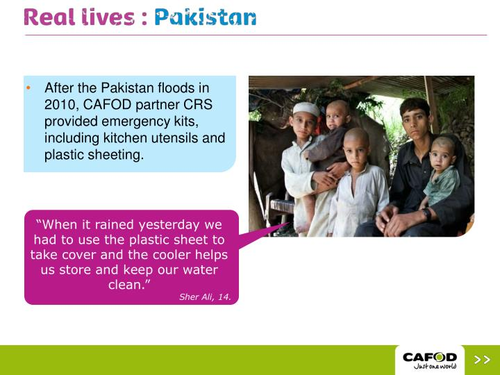 After the Pakistan floods in 2010, CAFOD partner CRS provided emergency kits, including kitchen utensils and plastic sheeting.