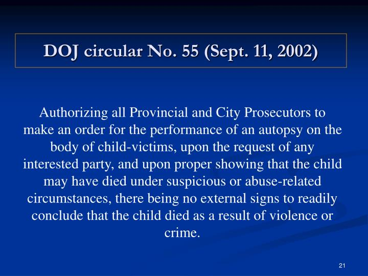 DOJ circular No. 55 (Sept. 11, 2002)