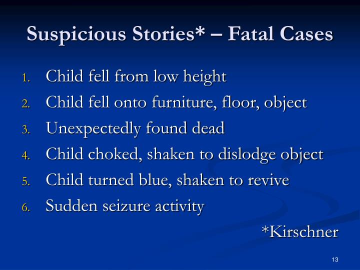 Suspicious Stories* – Fatal Cases