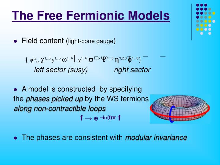 The Free Fermionic Models