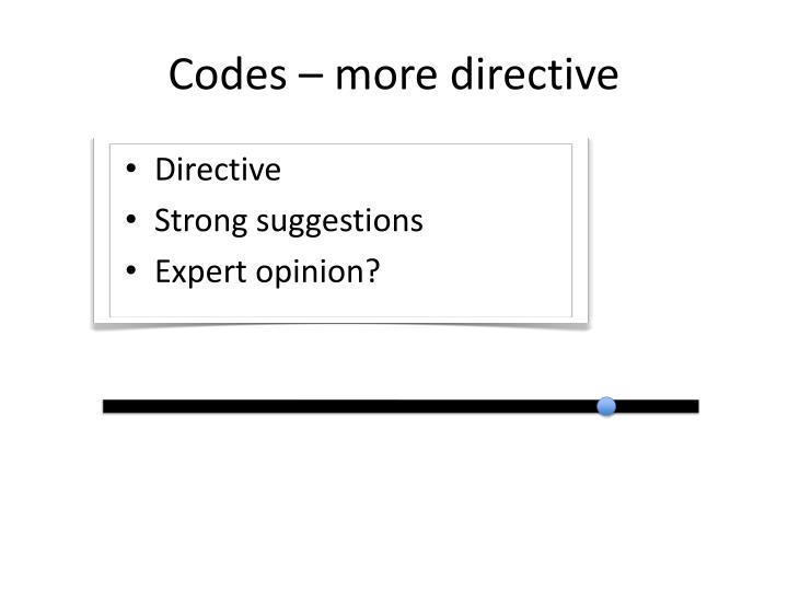 Codes – more directive