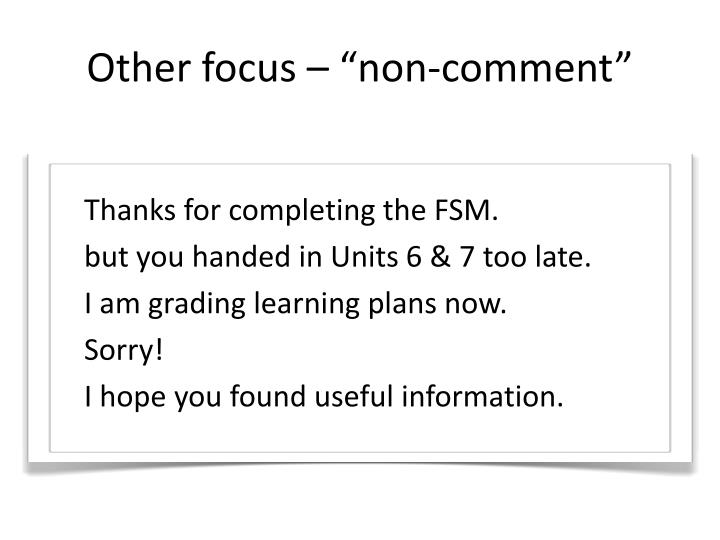 "Other focus – ""non-comment"""