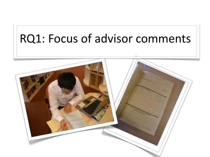 RQ1: Focus of advisor comments