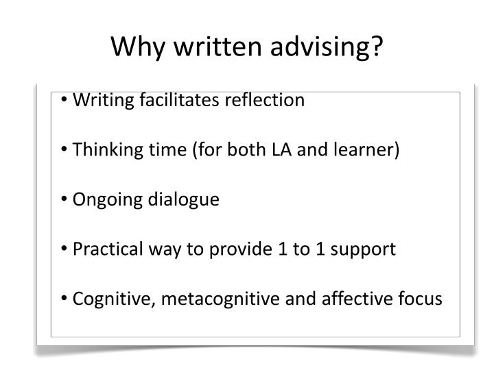 Writing facilitates reflection