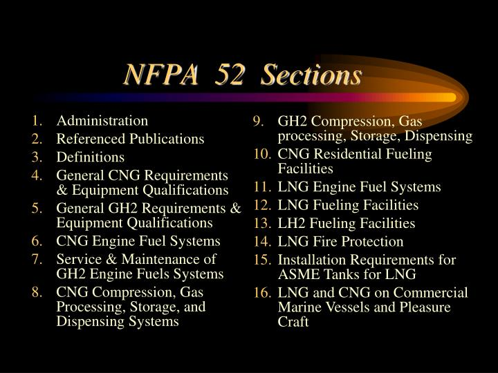 NFPA  52  Sections