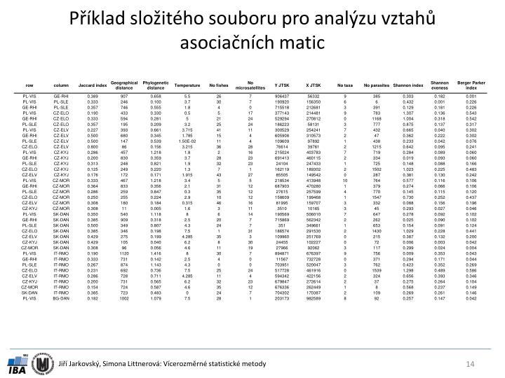 Příklad složitého souboru pro analýzu vztahů asociačních matic