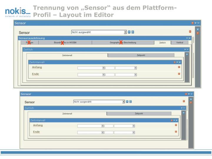 """Trennung von """"Sensor"""" aus dem Plattform-Profil – Layout im Editor"""