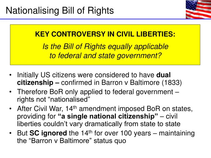 Initially US citizens were considered to have