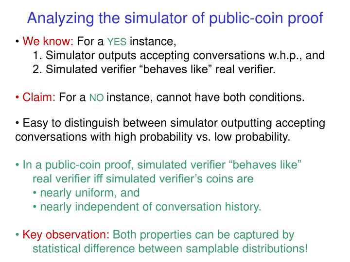 Analyzing the simulator of public-coin proof