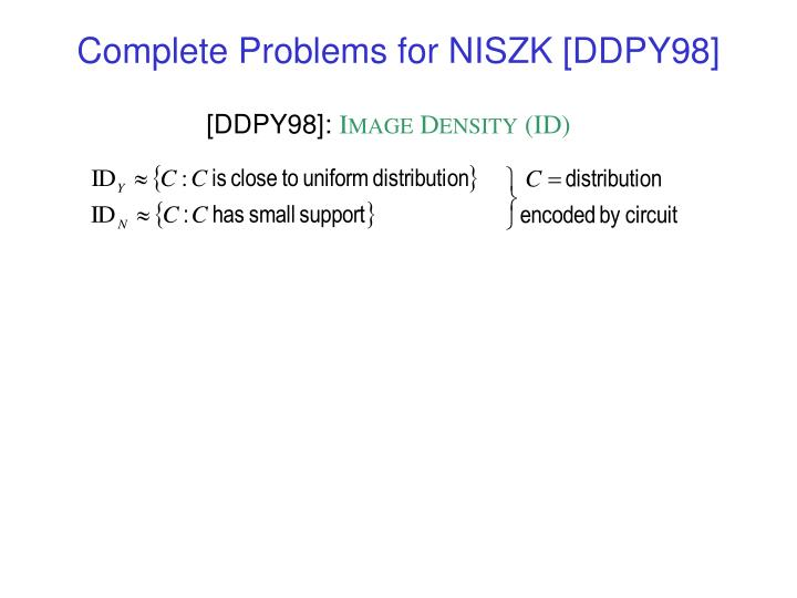 Complete Problems for NISZK [DDPY98]