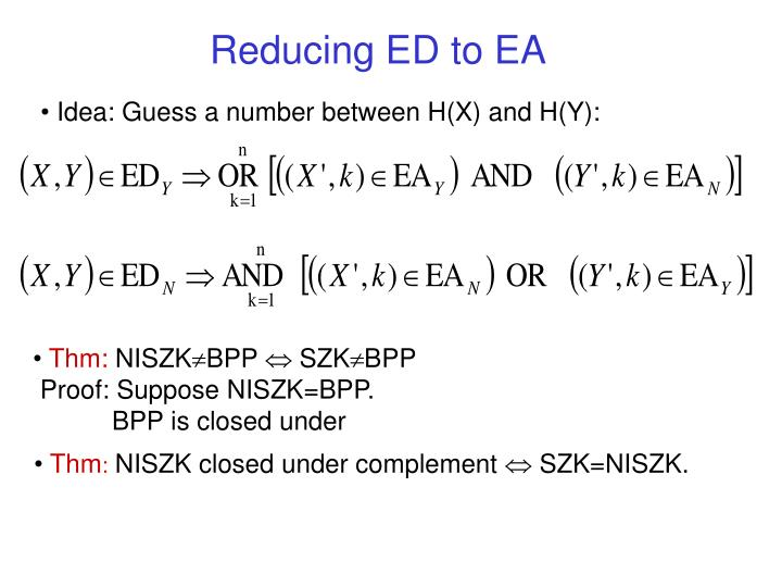 Reducing ED to EA