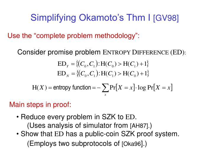 Simplifying Okamoto's Thm I