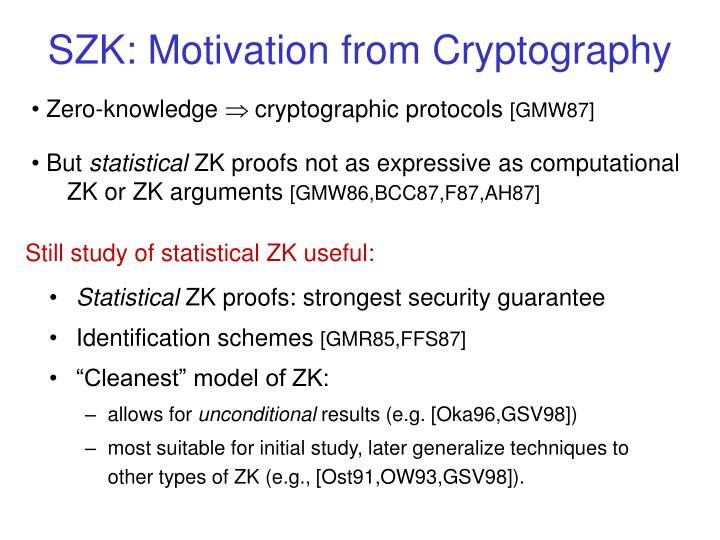 SZK: Motivation from Cryptography