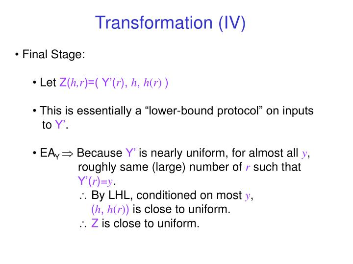 Transformation (IV)