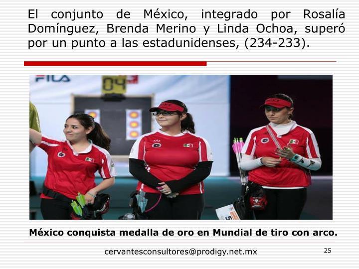 El conjunto de México, integrado por Rosalía Domínguez, Brenda Merino y Linda Ochoa, superó por un punto a las estadunidenses,