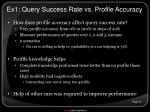 ex1 query success rate vs profile accuracy