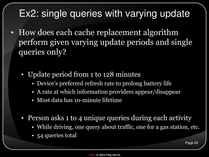 Ex2: single queries with varying update