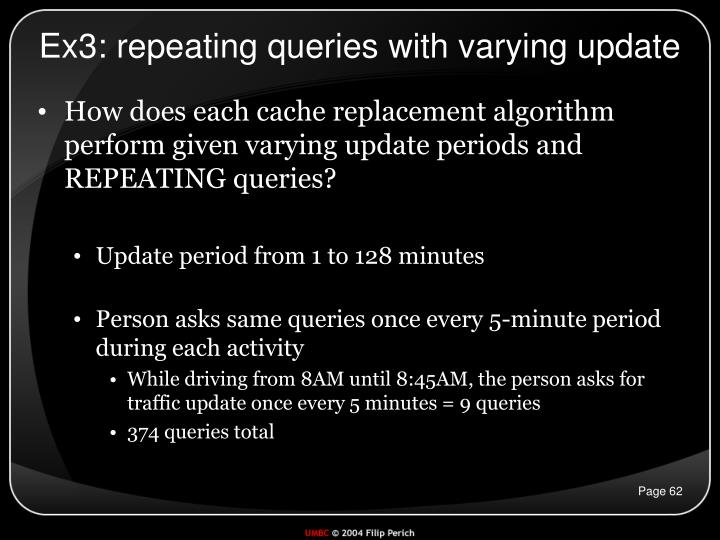 Ex3: repeating queries with varying update