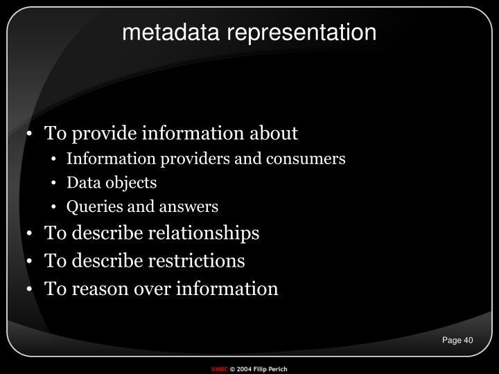 metadata representation
