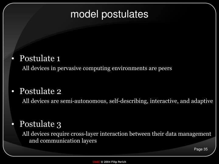 model postulates