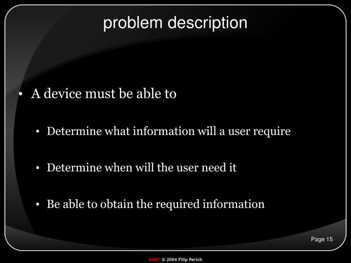 problem description