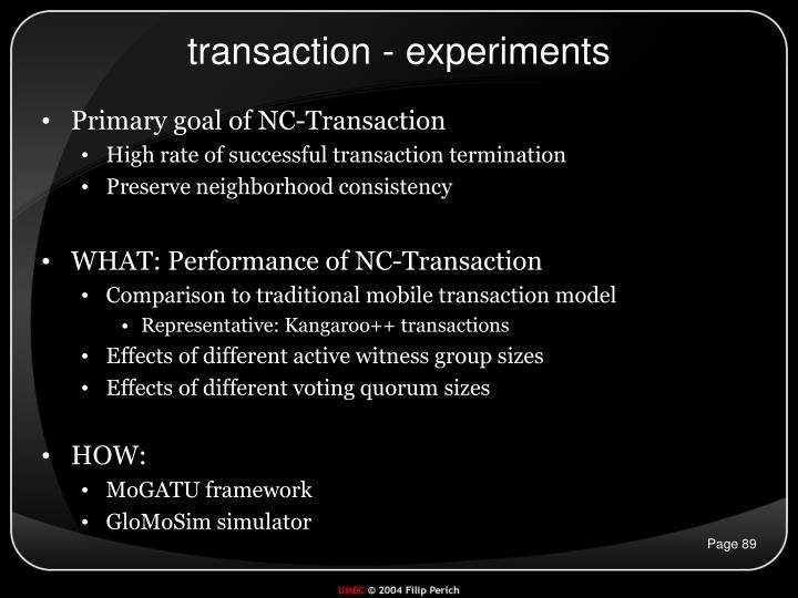 transaction - experiments