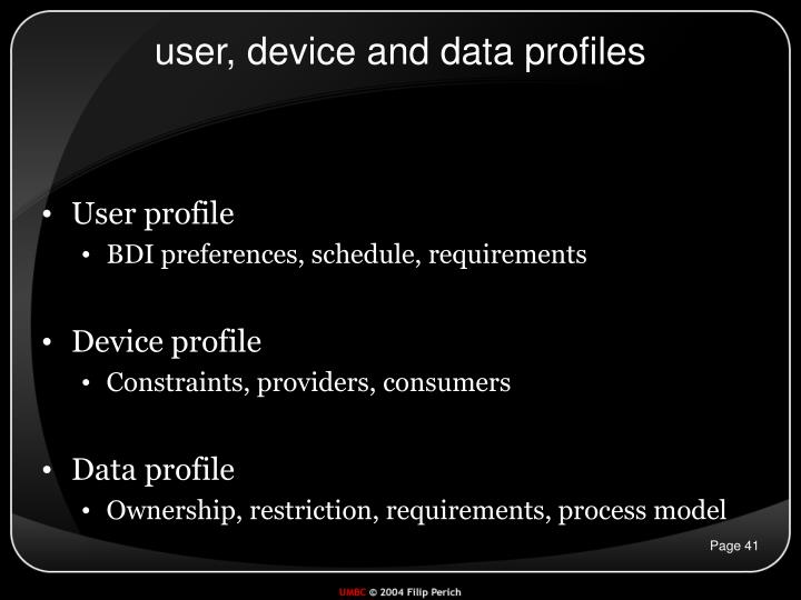 user, device and data profiles