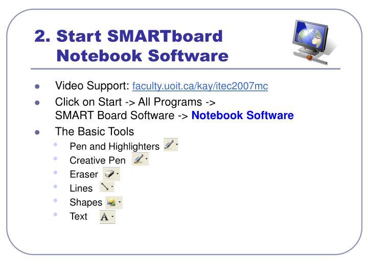 2. Start SMARTboard
