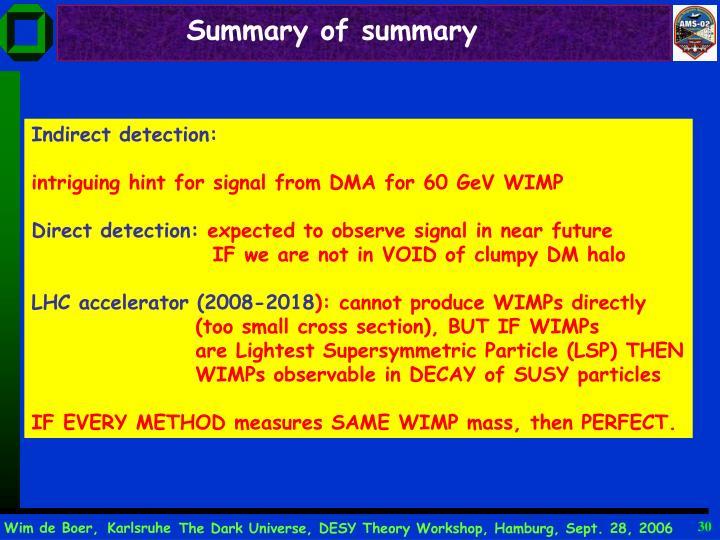 Summary of summary