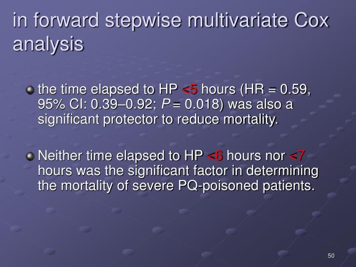 in forward stepwise multivariate Cox analysis