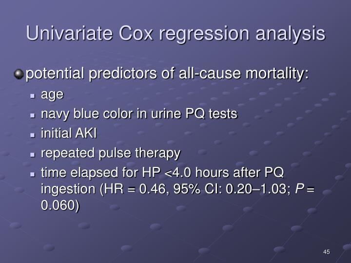 Univariate Cox regression analysis